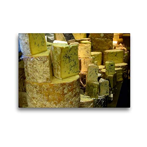 Calvendo Premium Textil-Leinwand 45 cm x 30 cm quer, Blauschimmelkäse | Wandbild, Bild auf Keilrahmen, Fertigbild auf echter Leinwand, Leinwanddruck: Alles Käse Lifestyle Lifestyle