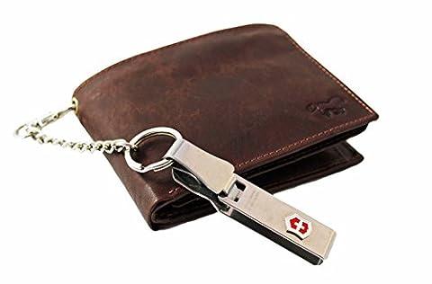 Safekeepers RFID Portefeuille Homme Portemonnaie - Éclair Secrète - Cuir Vachette Veau Ciré (Marron avec Chaîne Victorinox)