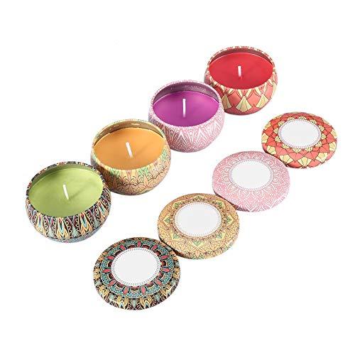 Gardenia-geschenk-set (Dewin Duftkerzen - Tragbare Duftkerzen, Rose, Jasmin, Lavendel, Gardenia-Dose, Reise-Geschenk, 4PCS / Set)