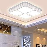 LED Modern Deckenlampe Deckenleuchte Quadrat Energiespar Wohnzimmer Schlafzimmer Korridor Acryl-Schirm Rahmen Flur Lampe Schlafzimmer Küche Energie Sparen Licht Durchbohrte Wandleucht (64W Kaltweiß)