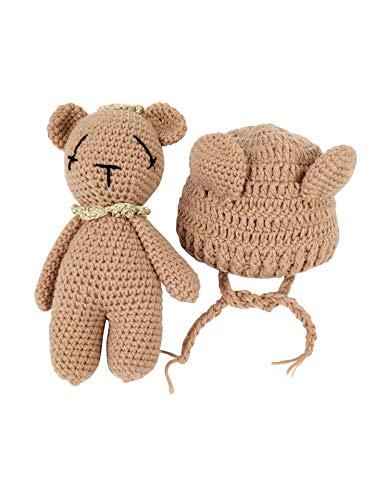 Jastore Neugeborenen Fotoshooting Kostüm Junge Mädchen Bär Mützen Fotographie Prop Crochet Geschenk Baby Kleidung neuborn (Stil 01)