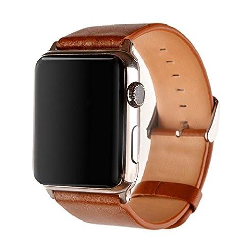 Apple Watch Lederarmband, Echtes Kalbsleder Uhrenarmband für Apple Watch Series 1 Series 2 mit Edelstahlschnalle, 42mm Braun