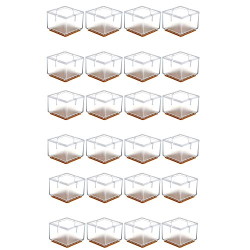 Mogokoyo 24 x Stuhlbeinkappen Silikon Stuhlbein Fußboden Schutz Möbel Tischabdeckung Furniture Tisch Hocker Bein Covers Pads Protectors für 30-35MM Quadratisch Beine (Transparent)