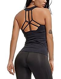 b43f81ad29 FITTOO Tank Top Abbigliamento Yoga Canotta Donna Fitness Sport Yoga Top,  Nero, M
