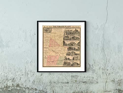 1887 Map Durham County, N.C, 55,9 x 61 cm, fertig zum Rahmen, Kunstdruck, Vintage-Stil