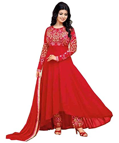 Stylish Fashion Ayesha Takia Red Embroidered Long Anarkali suit  available at amazon for Rs.1899