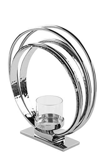 Fink Colette, Teelichthalter, Aluminium, vernickelt, Glas, Silber, Breite 5 cm, Höhe 23 cm, Länge 22 cm, 158606