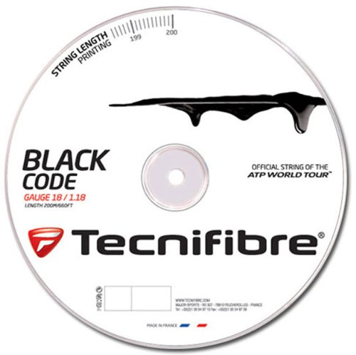 Tecnifibre 116552- Corda per racchette da tennis TF Black Code spessa 1,18 mm, 200 m