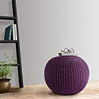 Home Streak 100% Knitted Cotton Pouf (16 X 16 X 16 inches) Best for Bedroom/Living Room/Kids Room (Purple)