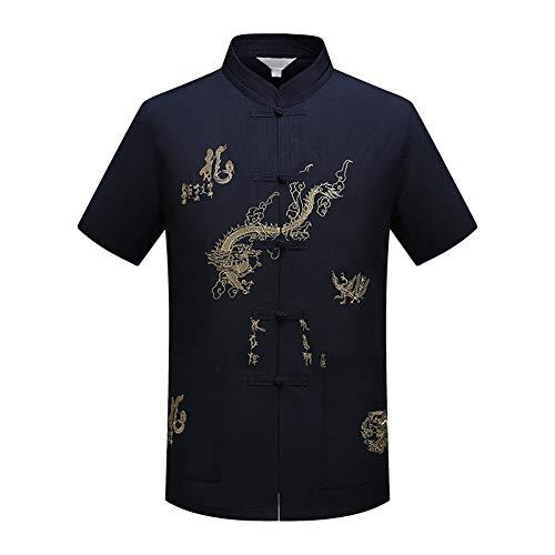 Xinvivion Herren Tang Anzug, Chinesisch Traditionell Stehkragen Kurzarm Drachen Muster Tai Chi Shirt Kampfkunst Kung Fu Hemd Uniform -