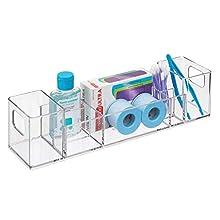 iDesign Organizer cosmetici, Beauty organizer 8 scomparti in plastica con maniglie, Organizer portaoggetti per trucchi, pinzette, medicine, rasoio, creme, trasparente