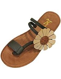 SOMESUN Sandali Pantofole da Donna Scarpe in Pelle Fiore Artificiale Moda  Tacco Piatto Anti Scivolare Scarpe da… f698ef3764f