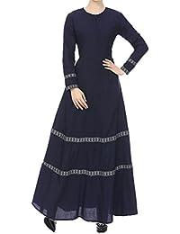 af781044db Kanpola Women Muslim Kaftan Abaya Jilbab Long Sleeve Lace Vintage Maxi Dress