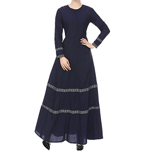 40ced347362eb Kanpola Women Muslim Kaftan Abaya Jilbab Long Sleeve Lace Vintage Maxi Dress  (Navy Blue