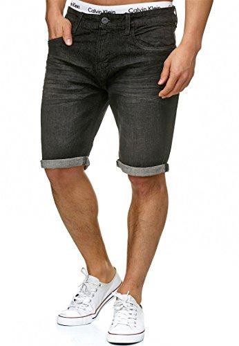 Indicode Herren Caden Jeans Shorts Kurze Denim Hose mit Destroyed-Optik aus Stretch-Material Regular Fit Black XL -