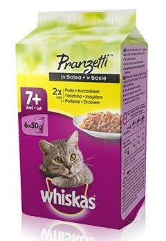 Whiskas Pranzetti Carni Bianche in salsa 7+ cibo umido per gatti multipack di 6 buste da 50 g