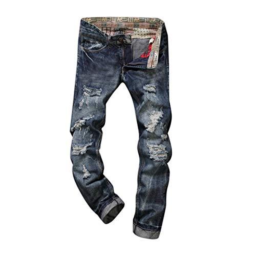 TEBAISE Herren Jeanshose Biker Destroyed Jeans Hose Denim Vintage Stretch Wasserwäsche Straight Cargohose Arbeitshose Slim Fit Röhrenjeans Destroyed Risse Jeanshose für Männer Jungen