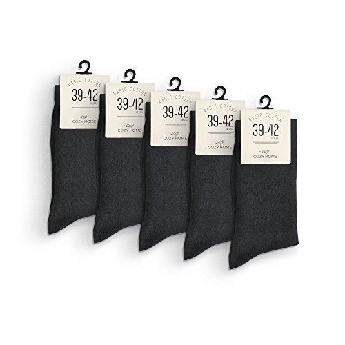 CozyHome 5 Paar schwarze Socken – bequeme premium Strümpfe mit breitem Gummi aus Baumwolle in Markenqualität – Unisex für Freizeit und Business   Größe: 39 40 41 42 43 44 45 46