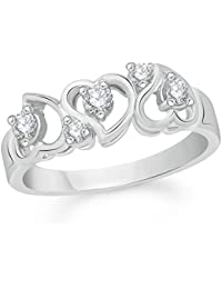 VK Jewels Bonded Heart Diamond Studded Rhodium Plated Alloy CZ American Diamond Finger Ring For Women & Girls...