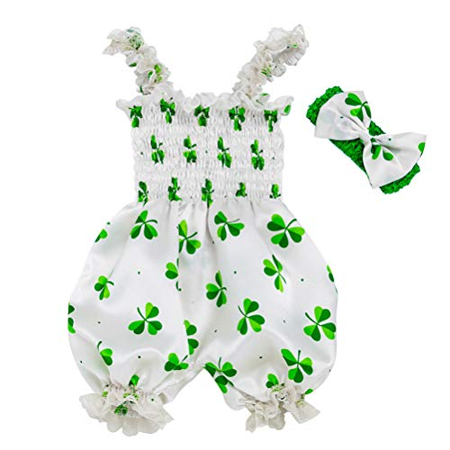 Amosfun St.Patrick Tag Overall Stirnband Set weiß grün Kleeblatt Strampler Festival Kostüm für Baby (Größe 66)