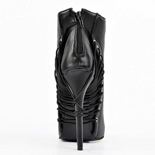 Kolnoo Damen Handgemachte elegante Lace-up Deco spitze Zehe-Absatz-Partei-Knöchel-Aufladungs-Schuhe Black