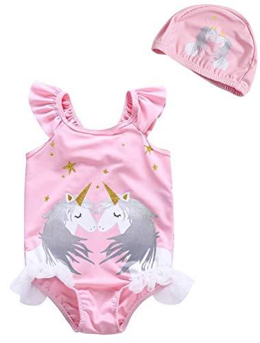 ARAUS Bañador Una Pieza Niñas Bebé Unicornio Traje de Baño Completo Manga Corta Sombrero con Encaje Tul