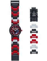LEGO Star Wars 8020417 Darth Vader Kinder-Armbanduhr mit Minifigur und Gliederarmband zum Zusammenbauen , schwarz/rot , Kunststoff , Gehäusedurchmesser 25 mm , analoge Quarzuhr , Junge/ Mädchen , offiziell