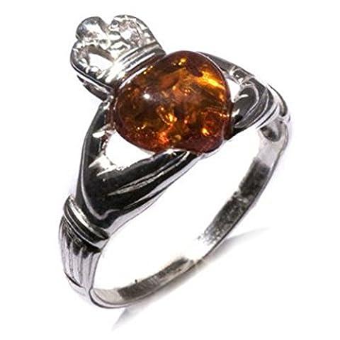 Noda bague en ambre et argent coeur claddagh de taille