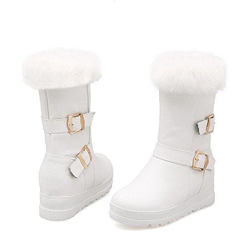 AllhqFashion Damen Rein Mittler Absatz Rund Zehe PU Leder Ziehen auf Stiefel, Weiß, 39