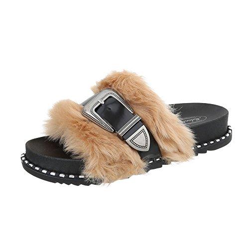 Chaussures Femme Sandales Plates Ital-design Tongs Beige Noir 838