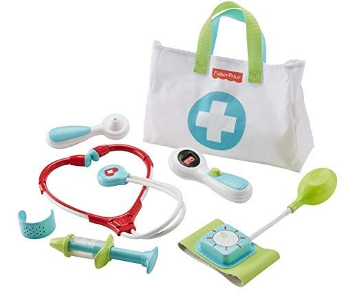 Fisher-Price DVH14 Arzttasche 7-teiliger Doktorkoffer zum Rollenspiel, ab 3 Jahren (Arzt Spiel)