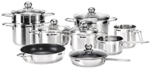 Karcher 113577 Jette cookware set (14-piece, including 5 glass lids, stainless steel, suitable for induction hobs and dishwasher-safe)