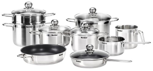 Karcher Jette Cookware Set with Pans, Stainless Steel, 14-Piece with 5 Glass Lids