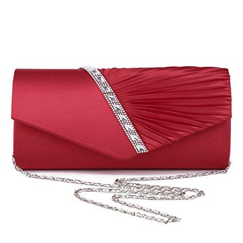 Damara - Pochette da donna, decorata con cristalli, ideale per serate eleganti Rosso (rosso)