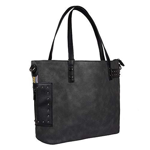 TIBES Damen große Handtasche aus weichem PU-Leder Vintage Taschen für Frauen Nieten Punk Schultertasche Umhängetasche