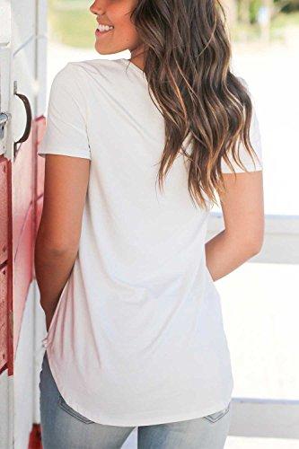Dasbayla Kurzarm V-Neck T-Shirt Damen Casual Basic Tshirts Lose Sommer Top Unregelmäßig Weiß