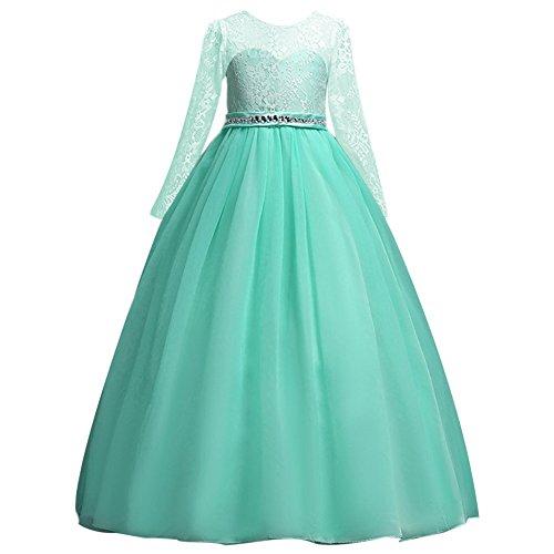 Festlich Mädchen Kleid für Kinder Sweet Prinzessin Langarm Spitzen Kleider Hochzeit Blumenmädchenkleid Türkis 8-9 Jahre