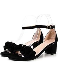 2018 Moda Verano Sandalias y Chanclas, WINWINTOM Nuevo Dama Mujer Moda Bloquear Alto Tacón Sandalias Flores Adornar Hebilla Zapatos