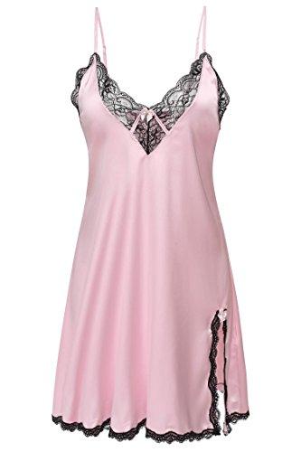 Nachthemd Damen Lingerie Sexy Negligee Reivoll Dessous Nachtkleid Erotik Reizwäsche sexy Unterwäsche Transparent Spitze Schlafkleid Babydoll, Pink, EU 40-42/Asien M