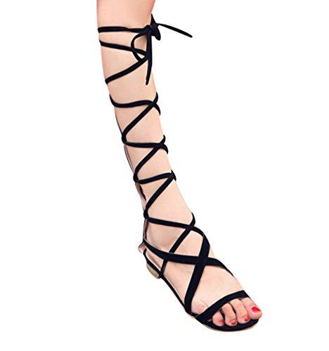 YOUJIA Damen Ausgeschnitten Kniehoch Gladiator Sandalen Flach Schnürschuhe Riemchen Sommerschuhe #1 Schwarz