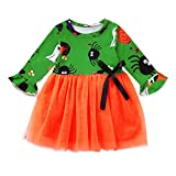 Halloween Karikatur-Druck Kleid für Kinder Baby Mädchen Bowknot Outfits