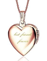 IXIQI Jewelry - Collar con colgante con forma de corazón, incluye camafeo para foto, ideal como regalo, incluye cadena…