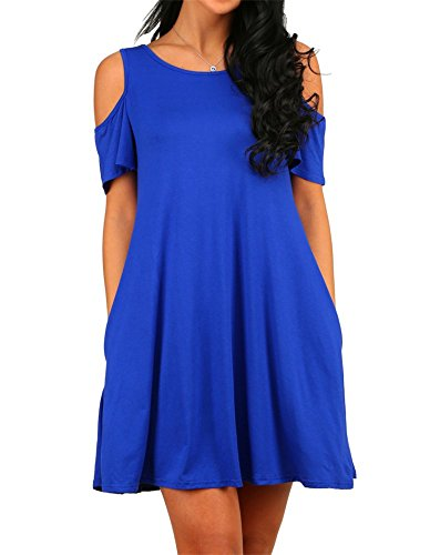 HAOMEILI Damen Langarm Kalte Schulter Swing Kleid Tank Top Loose Casual T-Shirt Kleid mit Pocket (L(EU 40-42), Blau)
