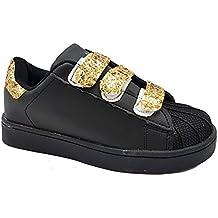 Shoes scarpe bimba bambina per Inverno Autunno sportive da ginnastica casual comode con strappi brillantinate colore nere numero 30