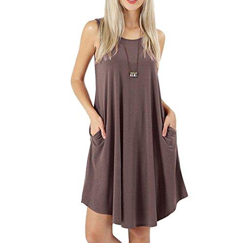 ESAILQ Damen Mode GS-Fashion Leinenkleid Damen Sommer mit Spitze am Rücken Kleid ärmellos Knielang(S,Khaki)