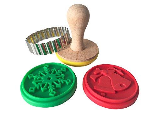EAST-WEST Trading GmbH Keksstempel-Set mit Weihnachtsmotiven, Plätzchen-Stempel Set, Weihnachtsplätzchenstempel, Inklusive 3 Verschiedene Designs + Ausstecher + Rezept für Motivstempelplätzchen