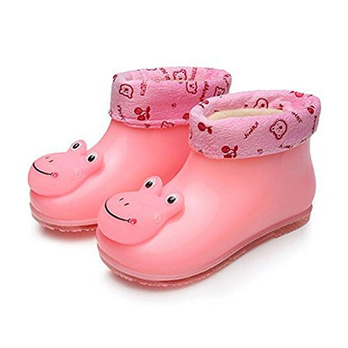 Meijunter Korean Kids Baby Cotton Set Removable Rain Boots Shoes Non-Slip Rubber Rainboots