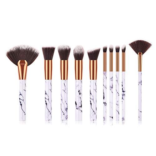 Cdet 10Pcs Kit De Pinceau Maquillage avec Manche en plastique Make Up Brush Ensemble Fondation Mélange Blush Yeux Visage Poudre Brosse Cosmétiques Or blanc