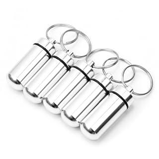 Schlüsselanhänger Pillendose aus Aluminium, wasserdicht, silberfarben, 5 Stück