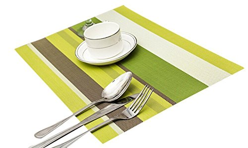 TININNA 6 Pcs Classic Stripe Waterproof Placemat Insulation Mat Set Table Mat PVC Weave Placemats Green Coffee 41ytSmQ1eNL